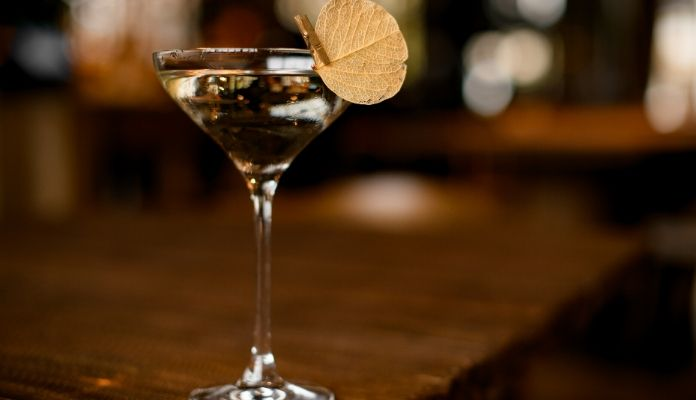 A glass of alcoholic drink